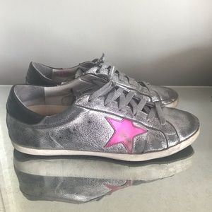 Golden Goose Silver and pink superstar sneakers